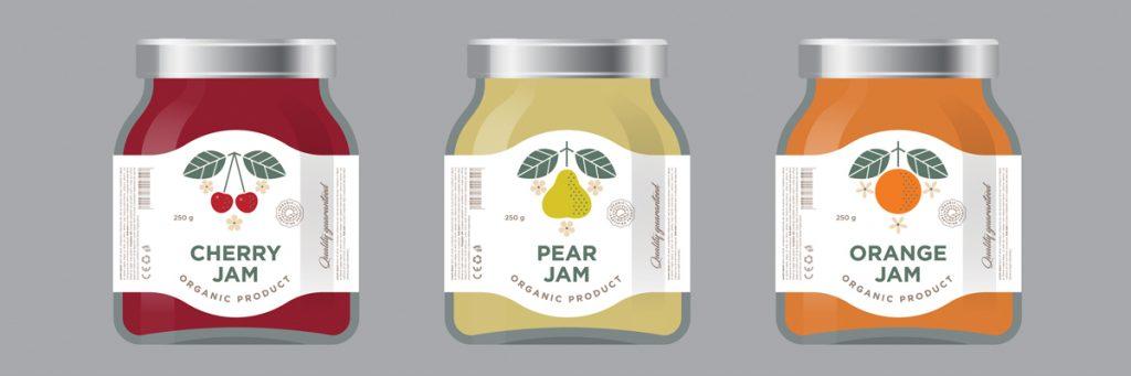 minimalist product labels jam